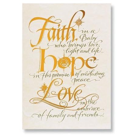 Handmade embellished Faith Hope Love Anniversary Card