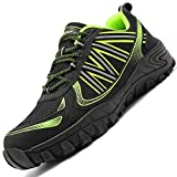 Zapatos de Seguridad,Punta de Acero Zapatos Ligero Zapatos de Trabajo Respirable Construcción Zapatos Reflexivo Botas de Seguridad(D Verde,42 EU)