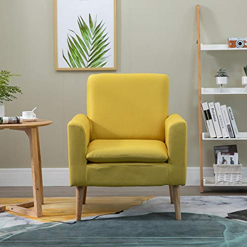 YC Fabric Armchair Lounge Chair Single Sofa Accent Chair Wooden Legs for Bedroom Living Room 74x73x88cm(Yellow)