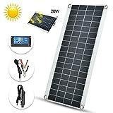 Panel Solar Flexible, 20W Kit de Panel Solar 12/24V 10A Controlador de Carga Solar, Módulo Policristalino Solar Fotovoltaico Portátil para Auto/Barcos/Camping/Caravanas/Autocaravana