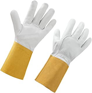 STEKETO Rose Pruning Thorn Proof Sheepskin Leather Gardening Gloves Long Forearm Protection Yard Work Gauntlet Glove
