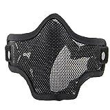 QMFIVE Máscara de Airsoft Malla de Acero táctico mascaras Mascara de Media Cara el Engranaje Protector para Airsoft Paintball(Black)