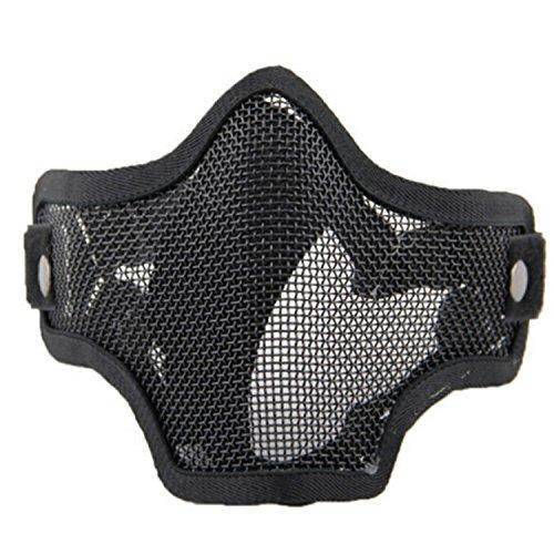 QMFIVE Taktische stahlmatten Masken hälfte Gesichtsmaske schutzkleidung für Airsoft Paintball Cosplay (BK)