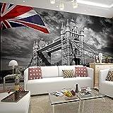 WLPBH 3D Mural Self-Adhesive Wallpaper (W) 400X (H) 280Cm Simple Combination Painting Bedroom Mural Sofa Background Black And White Mural Retro London