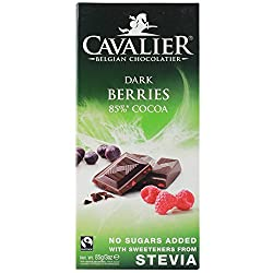 Cavalier Stevia No Sugar Added Belgian chocolate, 85g bar Sweetened with Stevia, a natural sweetener, made from a plant extract No added sugar, contains naturally occuring sugars May be suitable for diabetics or those on special diets Does not have l...