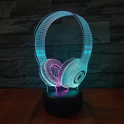 3D-lamp headset DJ Illlusion muziek koptelefoon model 3D nachtlamp hoofdtelefoon kleurrijke schrijftafel tafellamp kantoor slaapkamer decoratie kerstcadeau verjaardag cadeauslapend nachtlampje decoratie