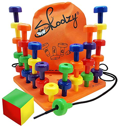 Skoolzy Peg Board Set - Montessori Toys for Toddlers, Preschool Kids | 30 Lacing...
