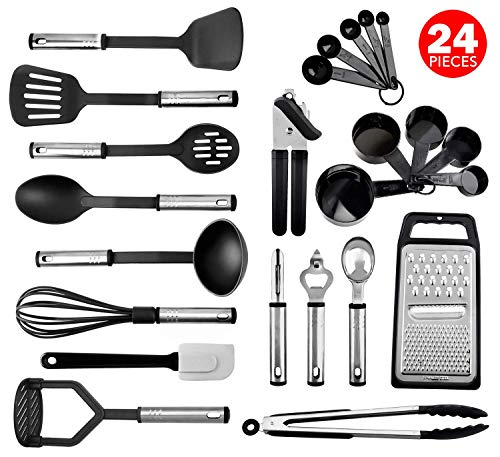 Kitchen Utensil Set, 24 Nylon and Stainless Steel Cooking Utensils, Non-Stick and Heat Resistant Cooking Utensils Set, Best Kitchen Tools, Useful Pots and Pans Accessories and Kitchen Gadgets (Black)