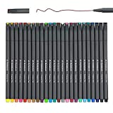 Fineliner Color Pens Set, 0.38mm Fine Tip Pens, Porous Fine Point Makers Drawing Pen, Perfect for Writing in Bullet Journal and Planner, 24 Assorted Colors