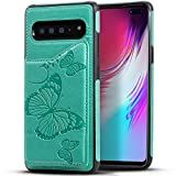 Kudex Galaxy S10 Plus Case with Card Holders,Leather Flip Folio Embossed Butterfly Magnetic Buttons Shockproof Wallet Case Cover Kickstand ID Slots Pocket for Samsung Galaxy S10 Plus 6.4''(Mint)