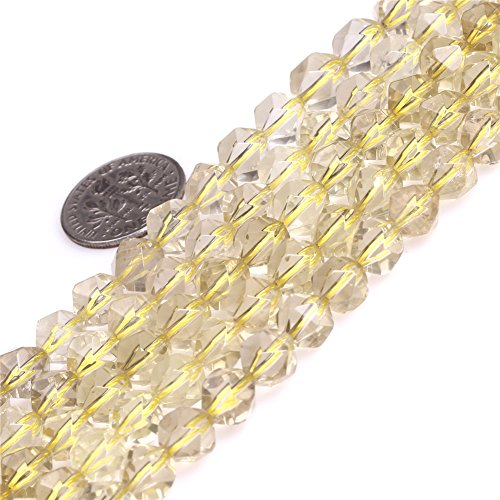 Joe Foreman Lemon Quartz Crystal Beads for Jewelry Making Gemstone Semi Precious 8mm Faceted 15""