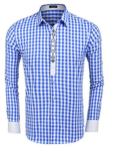 COOFANDY Hemden Herren Karriert Trachtenhemden Regular Fit Langarm Männer Freizeithemden Karohemden Plaid Shirt Oberteil Oktoberfest