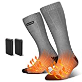 Vivibel Heated Socks for Women and Men, 4500mAh Electric Thermal Socks with Large Capacity Battery, 3 Heating Settings Rechargeable Electric Heated Socks for Skiing Hiking Fishing Camping Running