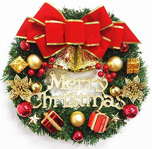 AKEKE Artificial Christmas Wreath for Front Door, Christmas Spruce Wreath Garland Decorations, Christmas Hanging Ornament with Bowknot, Bells, Red Berries for Party Home Holiday (#01)