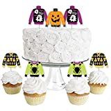 Big Dot of Happiness Halloween Ugly Sweater - Dessert Cupcake Toppers - Halloween Party Clear Treat Picks - Set of 24