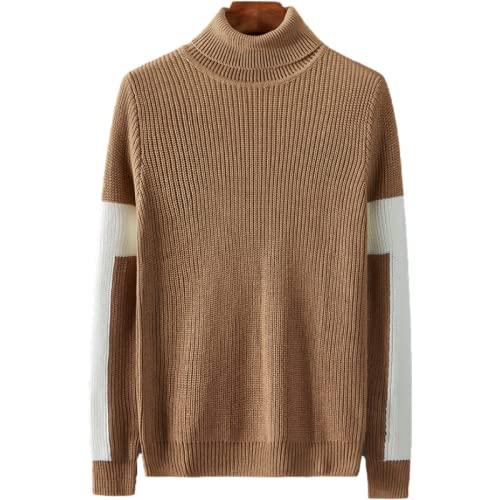 Suéter Informal Delgado de Cuello Alto para Hombre, suéter versátil Suave y cómodo a Juego de Color a la Moda de otoño e Invierno XXL