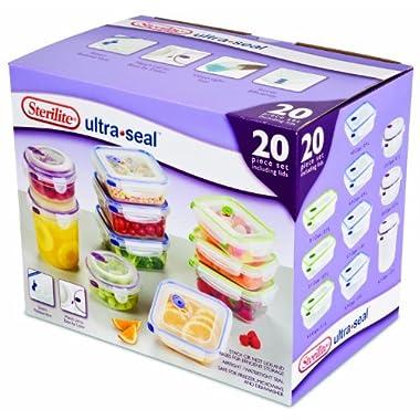 Sterilite 03068602 Ultra Seal Food Storage 20-Piece Set, 2-Pack