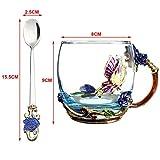 ALENAOO Belleza y Novedad Esmalte Taza de café Taza Flor Té Tazas de Vidrio para Bebidas Calientes y frías Taza de té Cuchara Set Regalo de Boda