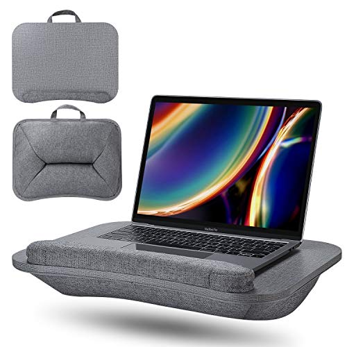 Laptop Stand with Cushion on Bed/Sofa, Lap Desk Built-in Soft Foam, Portable Lap Pillow Desk, Elekin Book Stand/Sleeping Pillow with Anti-Slip Strip&Handle, Fits up to 15.6' Notebook-Grey