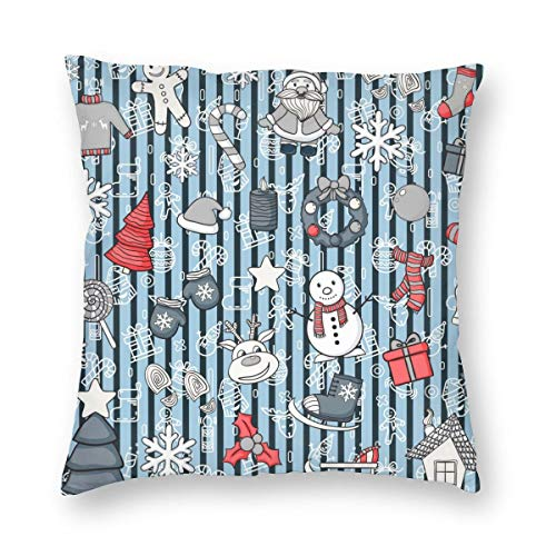 Decorative Cushion Covers Vector Seamless Pattern with Snowman, Reindeer,Christmas Tree,Gift,House Square Throw Pillow Covers Pillowcases for Sofa Couch Living Room 20'x20'