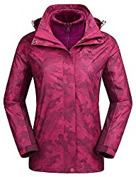 CAMEL CROWN 3-in-1 Damen Skijacke Wasserdicht mit Fleece Jacke Mode Winddicht Damen Wintermantel Wanderjacke Regenjacke Freizeitjacke Funktionsjacke Snowboard Sports Arbeit Reisen Abnehmbar Kapuze
