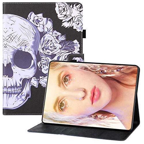 JCTek Funda para tablet compatible con Samsung Galaxy Tab A 10.1 pulgadas SM-T510/T515 2019, piel sintética, función atril, funda protectora con tapa (calavera de flores)