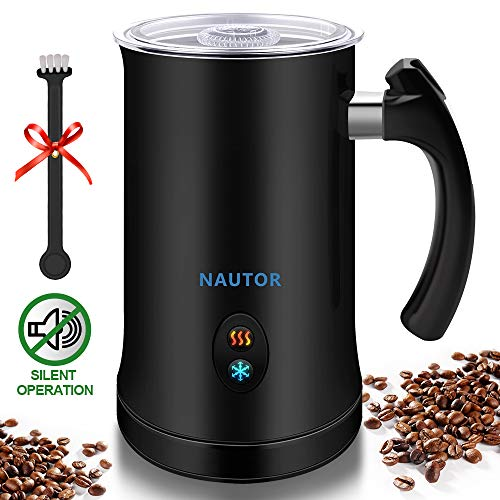 Milk Frother, Nautor Electric Milk Frother with Hot or Cold Functionality, Foam Maker, Black Stainless Steel, Automatic Milk Frother and Warmer for...