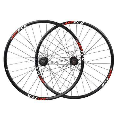 MZPWJD Ciclismo Ruedas Juego Ruedas Bicicleta 27.5'/ 29' para MTB Aleación Aluminio Llantas Doble Pared Freno Disco 7-10 Velocidades Tarjeta Hub 6 Rodamiento Sellado QR 32H (Color : Black)