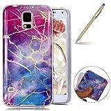 Herbests Kompatibel mit Handy Hülle Galaxy S5 Schutzhülle Silikon Handytasche Marmor Muster Glänzend Glitzer Kristall Bling Transparent Durchsichtige Tasche TPU Bumper Case,Glitzer