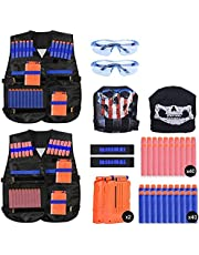 Youkesi 2 Set Kids Tactical Vest Kit for Nerf N-strike Elite Series with Wrist Band and Protective Glasses for Boys Toddler Children