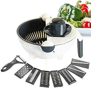 Enowva Passoire Multifonction 9 en 1 avec Mandoline et Râpeuse pour Légumes, Bol de Cuisine Anti-Dérapant avec Lames de Dé...