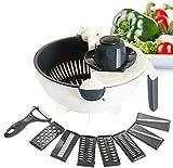 Enowva Passoire Multifonction 9 en 1 avec Mandoline et Râpeuse pour Légumes, Bol de Cuisine Anti-Dérapant avec Lames de Découpe Interchangeables Coupes Legumes de Grande Capacité