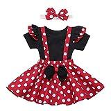 FYMNSI - Conjunto de vestido de punto para bebé, falda con tirantes, cinta para la frente, atuendo, princesa, cumpleaños, vestido de fiesta, juego de ropa de fiesta Rojo + negro (3 piezas) 12-18 Meses
