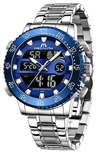 MEGALITH Reloj de pulsera para hombre, deportivo, digital, plateado, acero inoxidable, esfera grande, esfera azul, resistente al agua, digital, analógico, cronómetro, despertador, calendario