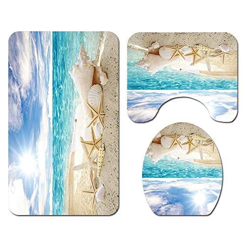 Claean-Acces-Home Alfombrilla De Baño Verde 4 Unids/Set Cortina De Ducha De Paisaje De Playa De Partición De Baño Impermeable Alfombra De Baño Absorbente Cubierta De Inodoro-Sy65