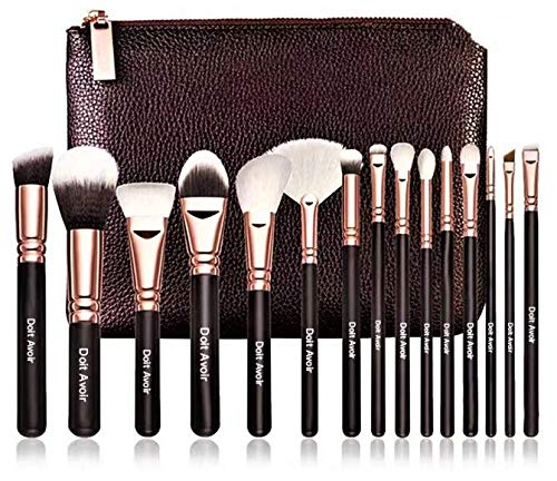 Doit Avoir Professional 15 pcs Natural Hair Makeup Brush Sets - Wooden Handle, Natural Super Soft Hair Professional Makeup Brushes (Gold)