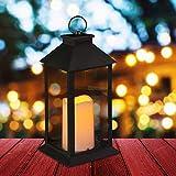 Relaxdays, Negro Farol LED de jardín, Vela con Efecto de Llama, Iluminación de Exterior, Colgante o de pie, 30 cm