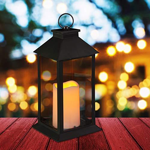 Relaxdays LED, Kerze mit Flammeneffekt, Outdoor geeignet, Deko-Laterne hängend oder stehend, H: 30 cm, schwarz, 30.00 x 14.00 x 14.00 cm