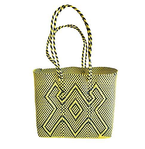 Bolsa plastico Reciclado Amarillo - Bolso Tote - Mexican woven Tote Bag - Bolsos Mexicanos Artesanales - Bolsa de Playa - Woven plastic beach bag - Mexican Woven Bag