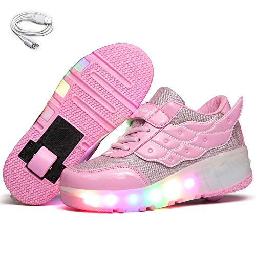 Ehauuo Unisex Wheel Shoes Kids Light up Roller Skate Shoes Girls USB Charging Roller Shoes Boys Flashing Sneakers for Gift(12.5 M US Little Kid, B-Pink)