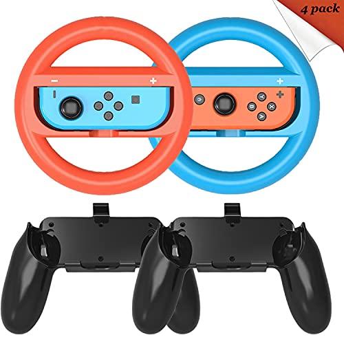 Switch Lenkrad und Joy Con Griff für Joy-con Controller, Joy Con Lenkrad für Nintendo Switch Joy con Controller und Mario Kart Game, Kompatibel mit Mario Kart 8 Deluxe--4 Packs Switch Zubehör