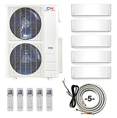 COOPER AND HUNTER Five 5 Zone Ductless Mini Split Air Conditioner Heat Pump 9000 9000 9000 9000 12000 Full Set WiFi
