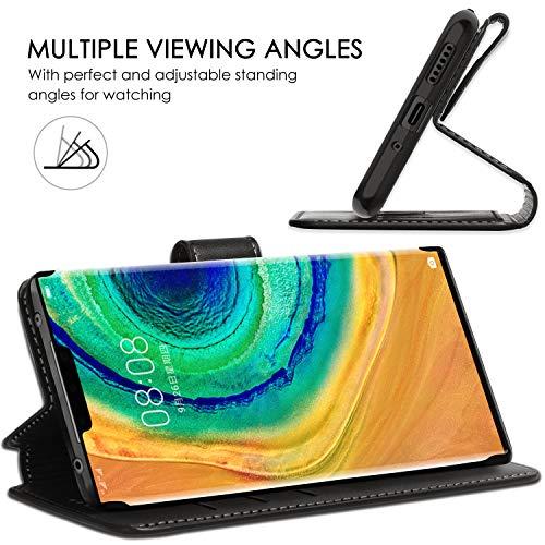 ykooe Handyhülle für Huawei Mate 30 Pro Hülle, Schwarz PU Leder Schutzhülle für Huawei Mate 30 Pro Flip Case Tasche - 4