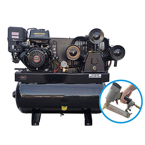 HPDAVV Gas Driven Piston Air Compressor 13HP - One Stage - 30 Gal Tank - 43.5cfm @ Max 125psi - 420CC Engine - for Service Trucks Fit for Ford F-150 Truck Bed, with Nailer for Free