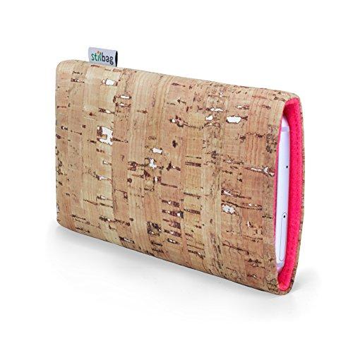 stilbag Handyhülle VIGO für HTC U11 Life | Smartphone-Tasche Made in Germany | Kork Natur mit Silber, Wollfilz lachs