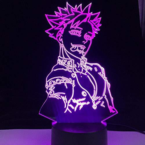 Luz nocturna 3D de anime LED japonés, modelo de anime con grabado láser de acrílico, iluminación 3D, ilusión nocturna LED, decoración de Año Nuevo, regalo de cumpleaños para niños
