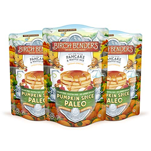 Pumpkin Spice Paleo Pancake and Waffle Mix by Birch Benders, Non-GMO Verified, 3 Pack (three, 12 oz. packs)