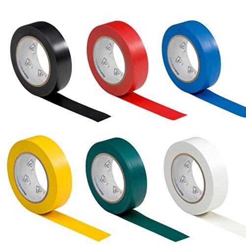 AUPROTEC 6 Rollen VDE Isolierband Isoband Elektriker Klebeband PVC 15mm x 10m DIN EN 60454-3-1 Sortiment/Set 6 Farben