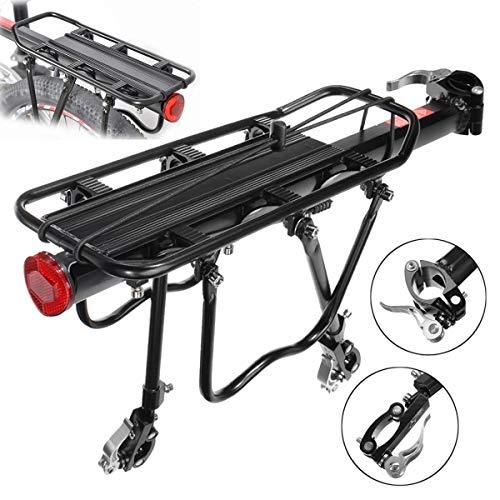 Maxload - Sillín de bicicleta de aleación de aluminio, color negro, soporte para el techo y tija de sillín para bicicleta de montaña eléctrica, 25 kg