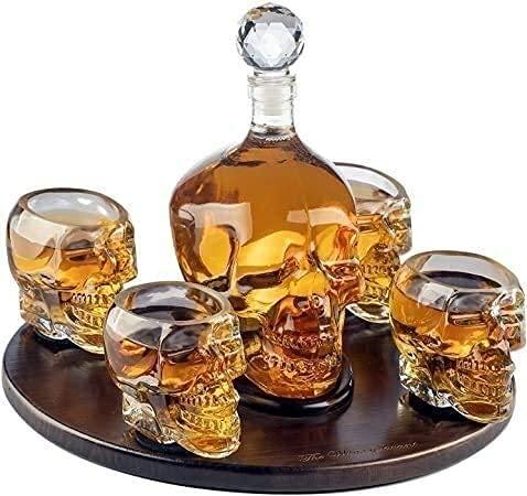Decantador de vinos, dispensador de la botella de licor Decantador de cráneo grande con 4 gafas de tiro y hermosa base de madera: corte a través de la cabeza del cráneo para usar el juego de regalo de